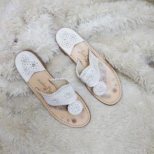 Jack Rogers white Whipstitched Flip Flop sandals